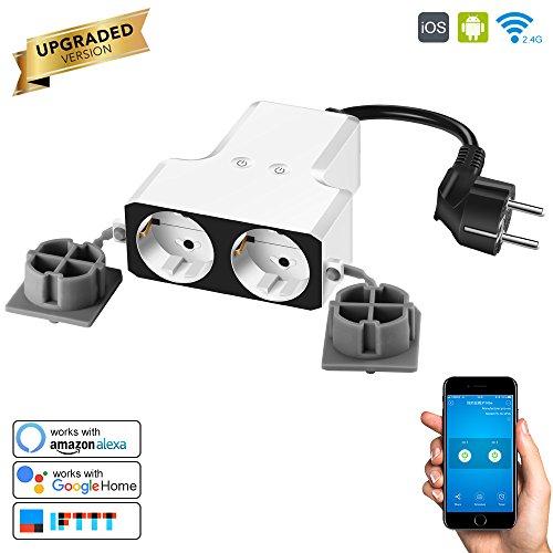 Konesky IP55 Wasserdicht Wireless 2500W WiFi Intelligente Steckdose Intelligente Outlet Mobile Fernbedienung Unterstützung Alexa / Google Sprachsteuerung / Timier Funktion für Android iOS Smartphone (2 Steckdose)