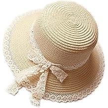 Kentop Niños niña plegable sombrero de paja sombrero puntas lado playa  sombrero verano sombrero a8df7747e89
