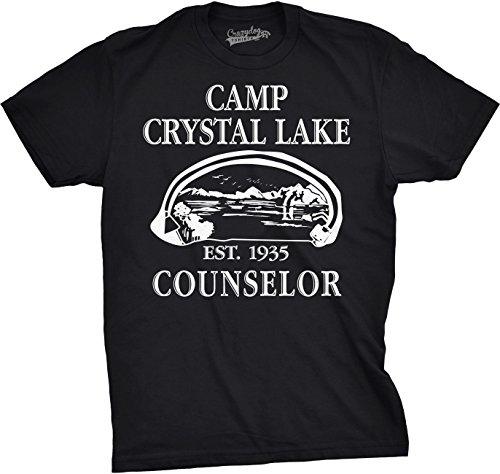 Crazy Dog Tshirts Mens Camp Crystal Lake T Shirt Funny Shirts Camping Vintage Horror Novelty Tees (Black) XXL - Herren - XXL