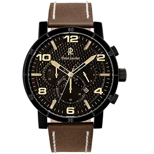 pierre lannier–237d434weekend natural–watch men–quartz–chronograph–black dial–brown leather bracelet
