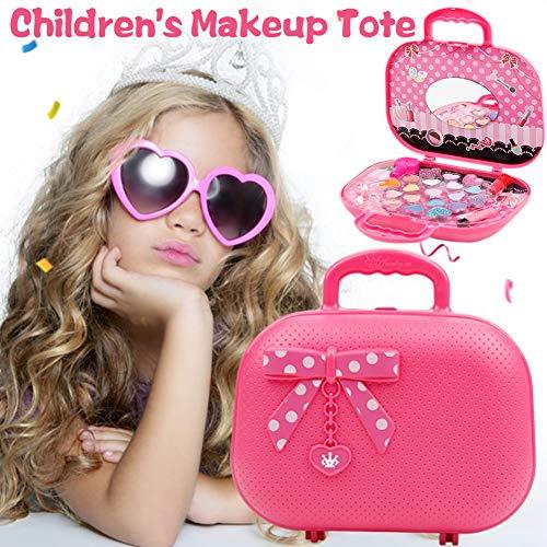 Schildeng Kinderkosmetik Kit - Spiegel und Palette - Lippenbalsam Nagellack - Tragbar Kinder Schminkset Make-up Box Geschenk für kleine Prinzessin - Sicher ungiftig
