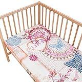 Vintage love - Pati'Chou 100% Baumwolle Spannbetttuch für Kinderbetten und Babybetten (2 Stück 60 x 120 cm)
