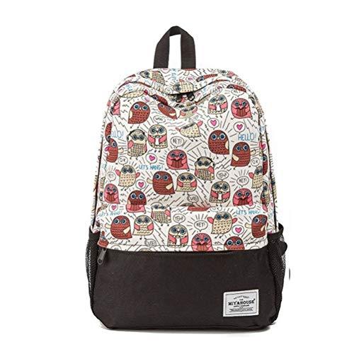 Crystallly Handtasche Hochwertige Niedliche Eule Bedruckt Rucksack Für Teenager Mädchen Cartoon Einfacher Stil Schultaschen Frauen Leinwand Reisen Rucksäcke Mochila,