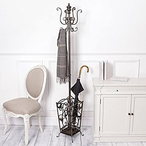 Antique Bronze Decorative Iron Coat and Umbrella Stand, Perfect addition to any hallway, cloakroom or reception area! Beautiful scrolled design! Luxury coat stand! H185 x W28 x D28cm