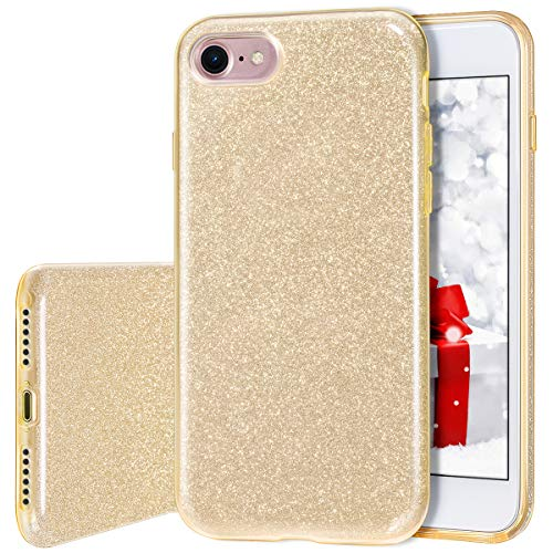 Milprox cover iphone 8, iphone 7 glitter shiny bling slim crystal clear tpu bling glitter paper frosted pc shell protettiva custodia per iphone 7/8 - oro