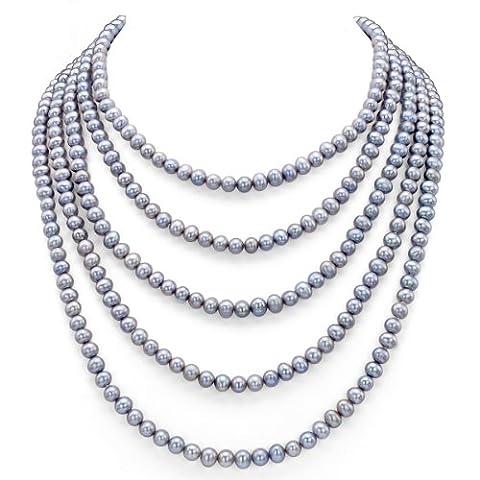 6–6,5mm Dyed-grey de culture d'eau douce de bijoux Pearl Endless Collier, 182,9cm