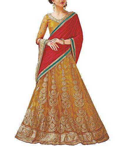 Gajiwal Sarees Women's Net Long Cholis Lehenga Choli (Yellow)