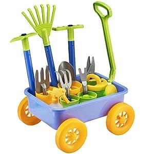 deAO Carriola e Attrezzi da Giardino per Bambini Gioco di Botanica e Giardinaggio Infantile Set Include 10 Accessori e 4… 51OD2f2TIJL. SS300