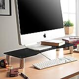 VonHaus Bildschirmständer Monitorständer für Monitore, Laptops & Fernsher | Höhenverstellbarer Schreibtischaufsatz | Schwarzes Glas, Füße aus Aluminium | 70 x 24cm Bildschirmerhöhung