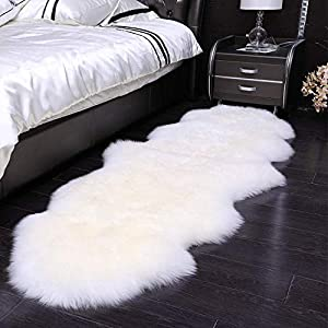 HEQUN Faux Lammfell Schaffell Teppich Kunstfell Dekofell Lammfellimitat Teppich Longhair Fell Nachahmung Wolle Bettvorleger Sofa Matte (Weiß, 60 X 160 cm)