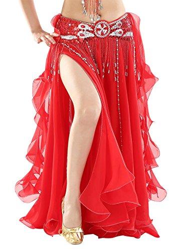 BellyQueen Damen Bauchtanz Kleider Orientalische Kostüme Performance Kleid Outfit Bauchtanzröcke - Rotes Bauchtanz Kostüm