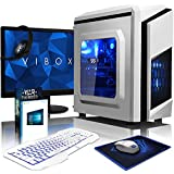 VIBOX Killstreak GS550-180 Paquet Gaming PC - 3,5GHz Intel i5 Quad Core CPU, GPU GTX 1050, Avanzado, Ordenador de sobremesa para oficina Gaming vale de juego, con monitor, Windows 10, Iluminaciàn interna azul (3,0GHz (3,5GHz Turbo) Super rápido Intel i5 7400 Quad 4-Core CPU procesador de Kabylake, Nvidia Geforce GTX 1050 2 GB Tarjeta gráfica GPU, 16 GB Memoria RAM de DDR4, velocidad de RAM: 2133MHz, 2TB (2000GB) Sata III 7200 rpm disco duro HDD, Fuente de alimentaciàn de 85+, Caja Blanco de F3)