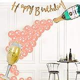Globos en forma de copa de champán y globos de oro rosa para decoración de fiesta de cumpleaños de niña con letras de feliz cumpleaños