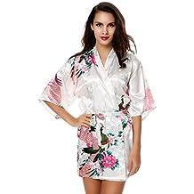 Keland Bata de Satén Kimono Estampado de Pavo Real para Mujer con Manga Amplia Pijamas Elegante y Atractiva