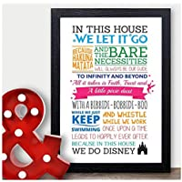 In This House We Do Disney - Wall Art Quotes Prints Poster Sign - We Do Disney Gifts Framed Prints, Wooden Block Plaques - Christmas Birthday Thank You Gifts Presents for Disney Fans