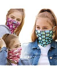 ALB Stoffe® ProtectMe Kids - Mix No. 2, paquete de 3 mascarillas de protección para la boca, antimicrobianas, 100% hechas en Alemania, tela infantil multifuncional, lavables y reutilizables