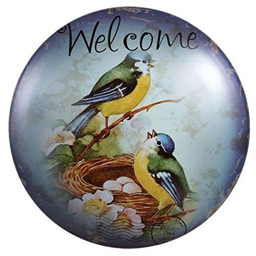 Little Pájaros Welcome 12–Cúpula redonda de metal decorativos Publicidad para la pared