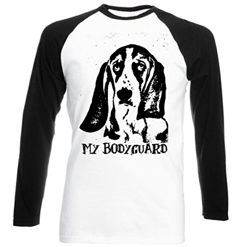 Teesquare1st Men's BASSET HOUND MY BODYGUARD Black Sleeved Baseball T-Shirt Size Large