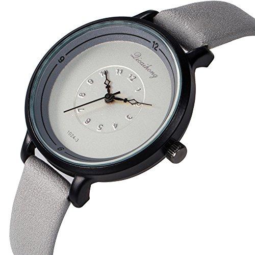 Mode Paar Uhr Lederband Linie Analog Quarz Damen Armbanduhren Geschenk Runde komplette grau