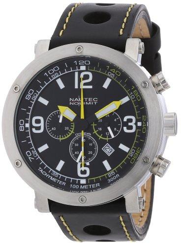Nautec No Limit - SM QZ2/LTSTBK-YL - Montre Homme - Quartz Chronographe - Chronomètre - Bracelet Cuir Noir