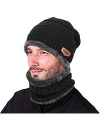 Goodbuy Berretto Uomo in Maglia per Inverno Caldo Cappello Beanie con  Sciarpa d5915c40a832