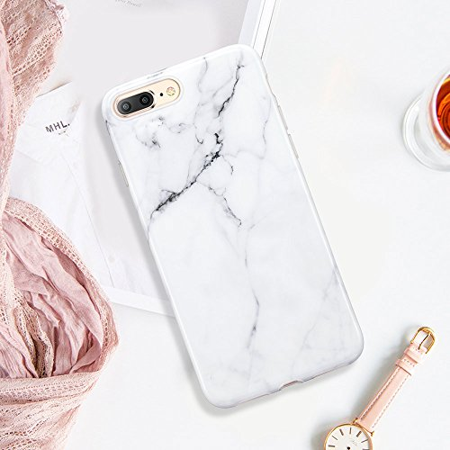 ESR iPhone 8 Plus Hülle, iPhone 7 Plus Hülle mit Marmormuster [Anti-Kratzer][Ultra Dünn] Slim Fit Weich TPU Schutzhülle [Kabelloses Aufladen Unterstützung] für Apple iPhone 8/7 Plus 5.5 Zoll 2017 Frei Weiß