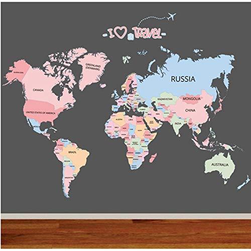Wandaufkleber Weltkarte Farbkarte der Welt Reise Route Wohnzimmer Video Wand Büro Studie Dekoration Funktion (Farbkarte Der Welt)