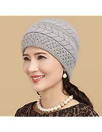 Beanie Cap Ski Cap HOME Autunno e inverno di mezza età delle donne anziane  caldo cappello invernale cappello di… 10f5d11d91bb