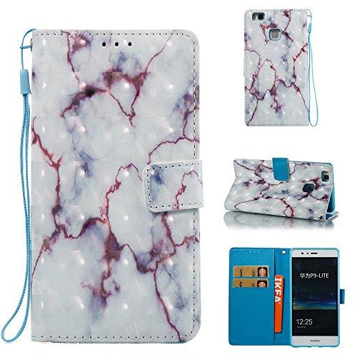Marmor Stein Grain Texure Pattern PU Ledertasche Cover, Retro Bookstyle Flip Stand Case mit Magnetverschluss & Card Slots & Lanyard für HUAWEI P9 Lite ( Color : F ) B