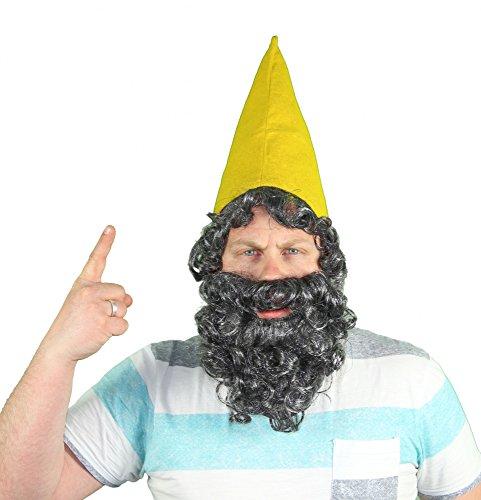 mütze Mütze Zwerg Zwerge mit Bart Gelb Kostüm ()
