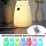 Nachtlicht Kind,SOLMORE LED Nachttischlampe Bär Licht Schlaflicht dimmbar mit 8 Beleuchtung Touch USB Silikon Lampe mit Fernbedienung für Kinder Mädchen Kinderzimmer Kindergeburtstag Geschenk Deko