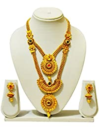 KailasMegha Gold Plated Long Necklace Set With Earrings For Women