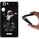 Funda Wiko Ridge 4G, WoowCase [ Wiko Ridge 4G ] Funda Silicona Gel Flexible Astronauta Corazón - I Love To the Moon And Back, Carcasa Case TPU Silicona - Negra