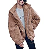 Damen Tops Plüschjacke Fashion Langarm Revers Reißverschluss Kunstwolle Übergröße Jacke Modische Casual Jacke mit Taschen, fühlen Sich warm im Winter an, mehrere Farben S-3XL