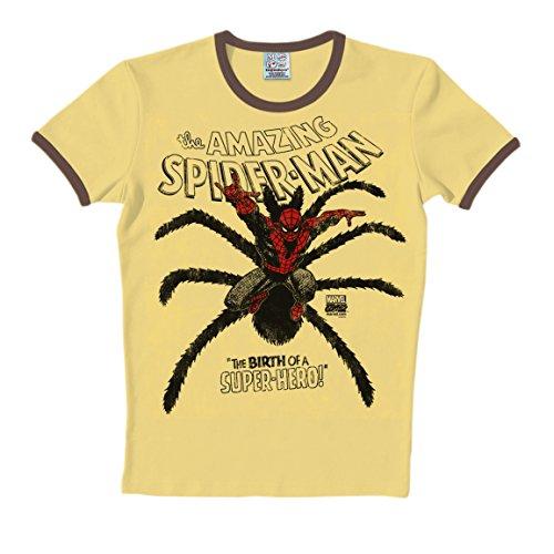 T-Shirt Spider-Man - Marvel Comics - Rundhals Shirt von LOGOSHIRT - beige - Originaldesign, Größe XXL