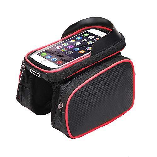 DHDHWL Fahrradtasche Fahrradtasche Fahrradzubehör Wasserdichter Touchscreen MTB-Rahmen Vorderrohraufbewahrung Mountain Road Bike Bag Für 5,0 Zoll Phone @ B (Bag Bike Road)