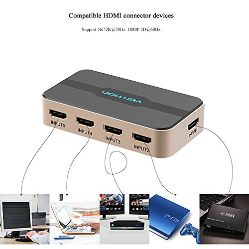 Vention 5 Port Hdmi Switcher With Full Hd Support 5 Input 1 Output Hd 1080p Hdmi Adapter Connecter Displays Supports Computers Ps3 Ps4 Laptops Projectors Hd Cable Box (black)