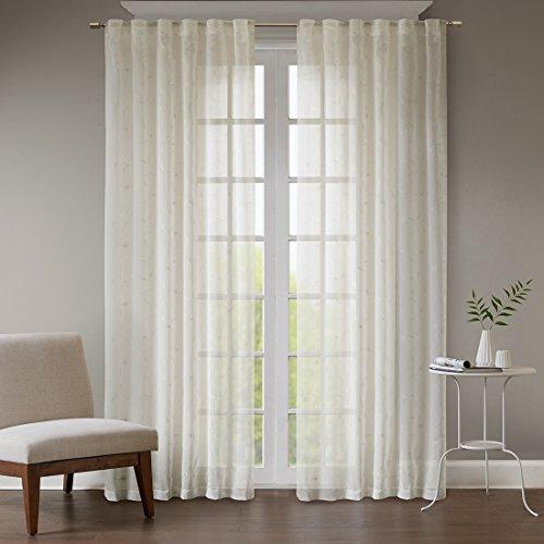 URBAN HABITAT Leanne Dekoschal Gardine Schal aus Voile Seitenschal Vorhänge Wohnzimmer Modern Elegant mit Stickerei, Ivory (2er-Set, je 213*127cm)