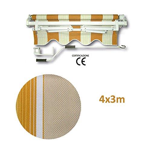 Tende tenda da sole da balcone a bracci retrattili barra quadra 400x300 (gialla)