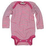 Cosilana Baby-Body, Wollbody, Größe 74/80, Farbe Pep-Pink geringelt, 70% Wolle und 30% Seide kbT