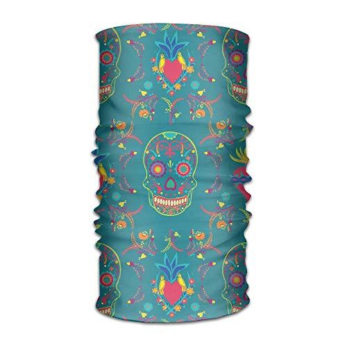 Mexican Sugar Skull Multifunctional Magic Headwear 12-in-1 Men&Women Tube Scarf Facemask Headbands Neck Gaiter Bandana Balaclava Helmet For Outdoor Running Yoga Work Out 19.7x9.85(Inch)/50x25(cm)