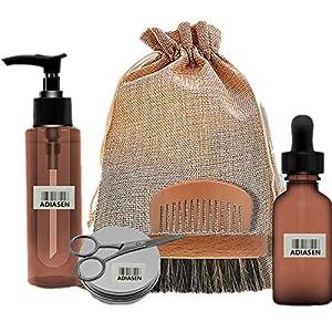 ADIASEN 30ml Bartöl, 30g Bartcreme, 100ml Bartshampoo, Bartbürstenschere Kamm-Zubehör-Sets für Männer