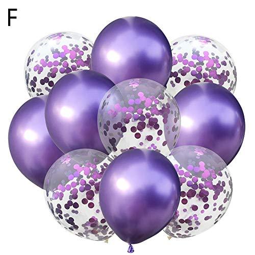 Metall-Kombinations-Latexballon, Set enthält 5 Pailletten-Ballons und 5 Chrom-Ballons, geeignet für Geburtstags-Hochzeitsfeiern, Baby Shower (Rot, Gold, Silber, Grün, Blau, Purpl ()