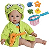 Adora 20254002 Bathtime Baby Frog Washable Soft Body Summer Doll With Fishing Net And Animals Bathtub Toy Bundle, 13""