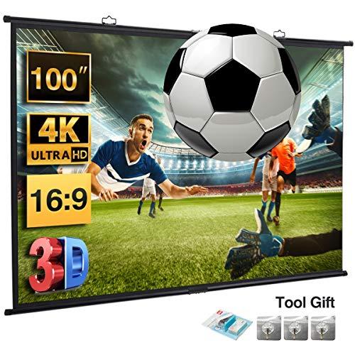 Excelvan Beamer Leinwand 100 Zoll Diagonale 16: 9 Portable Fast Install Wandprojektor Leinwand Für 4K HD Filme Projektion für Heimkino,Büro,Präsentationen,Schulen,Events,221x125cm