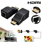 2Pcs HDMI Repeater, KSRplayer HDMI To RJ45 Network Cable Extender Over by Cat 5e / 6 1080p up to 30m Extender Repeater for HDTV HDPC PS4 STB 4K 2K (HDMI To RJ45)