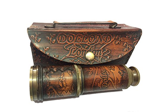 Marine Nautique Store Vintage Antique Laiton Maritime Cuir Télescope Pirate Longue-Vue Scope W/Coque