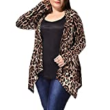 TWBB Mäntel Damen Plus Size Elegant Leopard Wintercoat Wintermantel Frauen Trenchcoat Drucken Slim-Fit Hülse Jacken Windbreaker Herbst Winter Bequem Outwear,XL-4XL