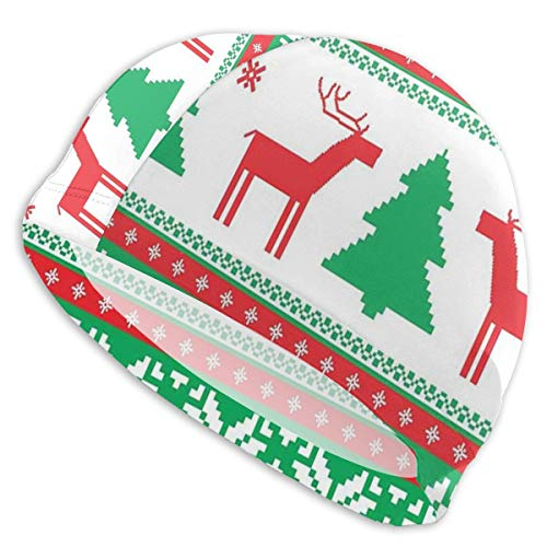 Swimming Cap Elastic Swimming Hat Diving Caps,Knit Style Graphic Reindeer Figure Star Snowflake Holiday Family Theme,for Men Women Youths -