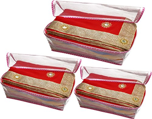sd enterprises extra large size (With Capacity Of Upto 15 Sarees) set of 3 Piece havy Transparent Net Saree Cover